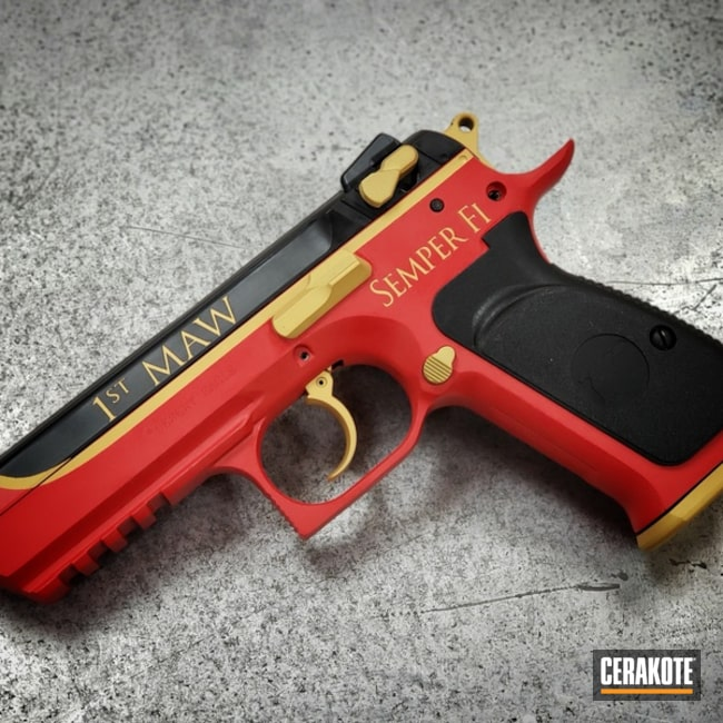 Desert Eagle Handgun Cerakoted in a Custom Marine Themed Finish