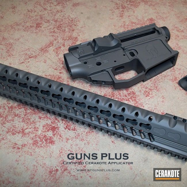 Upper and Lower Receiver with Handguard done in Cerakote H-234 Sniper Grey