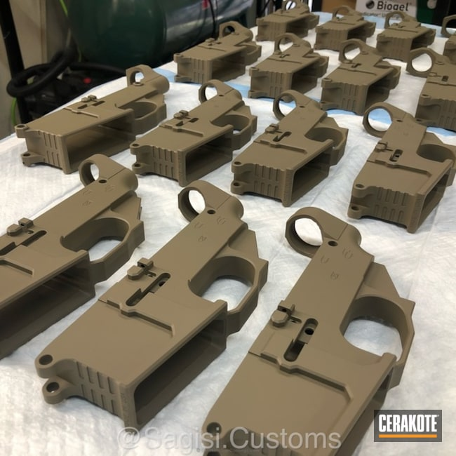 AR-15 and AR-10 Lowers coated in H-267 MagPul FDE