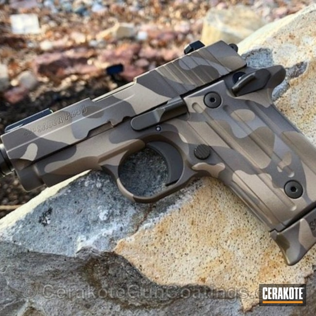 Cerakoted: Custom Mix,Desert Camo,MAGPUL® FLAT DARK EARTH H-267,Sig Sauer P238,Desert Sand H-199,Patriot Brown H-226,Pistol,Sig Sauer,Desert Multi Cam
