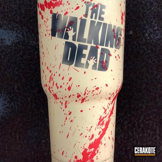 Cerakoted: Blood Splatter,Zombie,Walking Dead,Blood,Graphite Black H-146,USMC Red H-167,More Than Guns,Theme,Custom Tumbler Cup,FS Sabre Sand H-33446