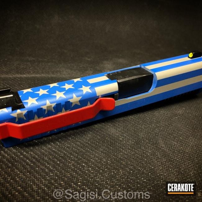 Cerakoted: NRA Blue H-171,FIREHOUSE RED H-216,Glock,American Flag,Bull Shark Grey H-214,Slide