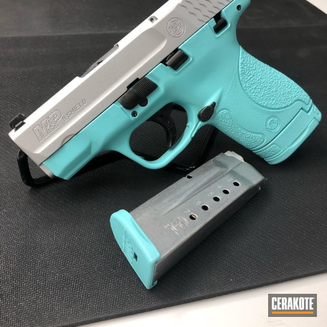 Cerakoted: Robin's Egg Blue H-175,Two Tone,Smith & Wesson,Smith & Wesson M&P,Satin Aluminum H-151,Pistol