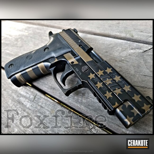 Sig Sauer P226 Cerakoted in a Graphite Black and Burnt Bronze American Flag Finish