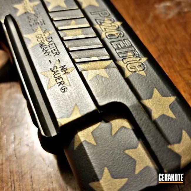 Cerakoted: Sig Sauer P226,Graphite Black H-146,Burnt Bronze H-148,Pistol,American Flag,Sig Sauer