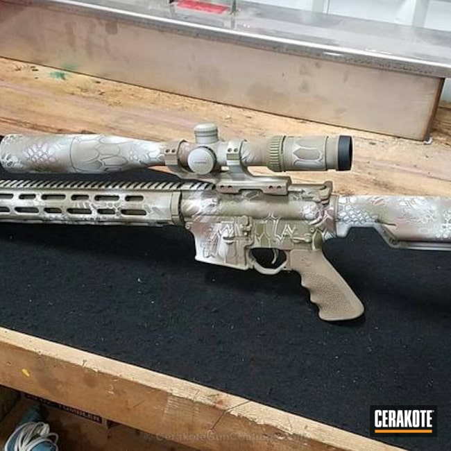 Tactical Rifle in a Cerakote Kryptek Finish