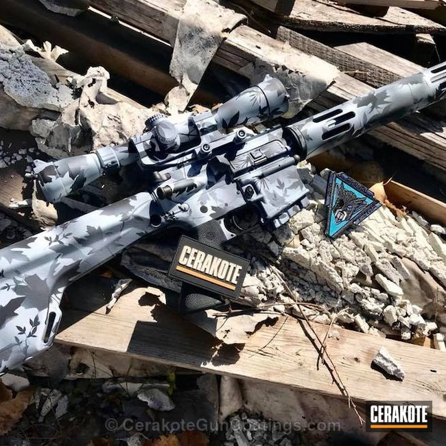 Cerakoted: Custom Mix,MagPul,AR .450,Armor Black H-190,Tactical Rifle,Custom Camo,Snow Camo,Bright White H-140,450 Bushmaster,Stormtrooper White H-297,Camo,Leupold,AR-15