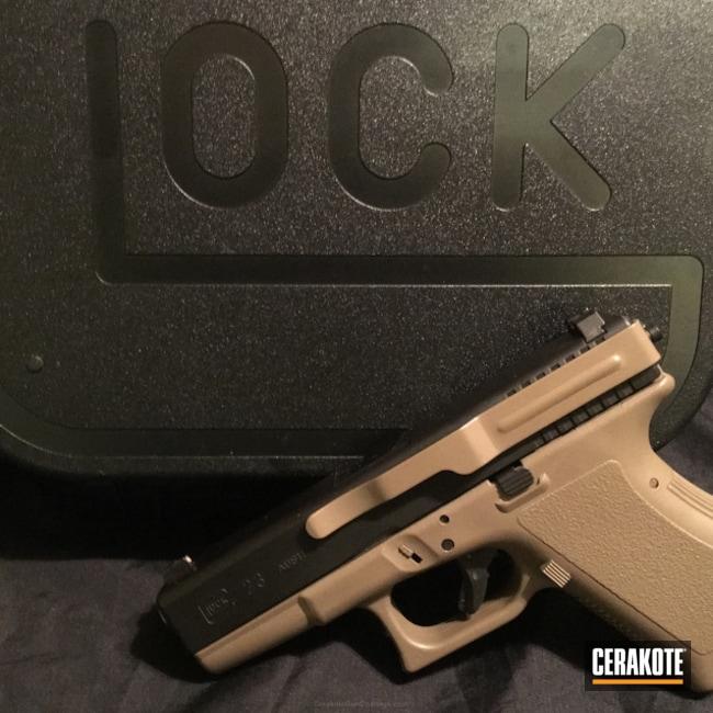 Cerakoted: Graphite Black H-146,Two Tone,Pistol,Glock,Glock 23,Flat Dark Earth H-265