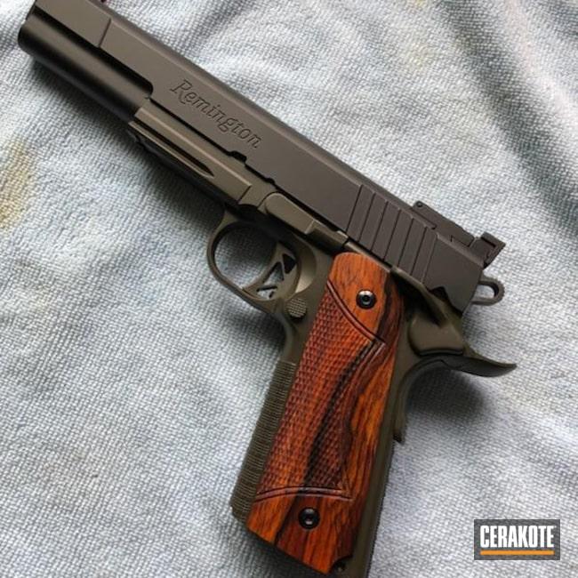 Cerakoted: Armor Black H-190,Pistol,1911,Remington,MAGPUL® O.D. GREEN H-232
