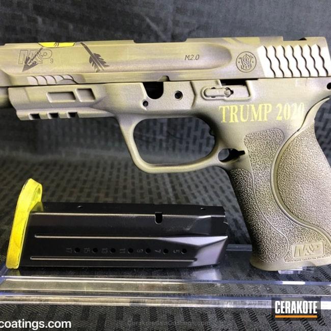 Cerakoted: Corvette Yellow H-144,Graphite Black H-146,Smith & Wesson,Smith & Wesson M&P,Pistol,O.D. Green H-236