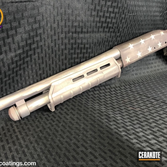 Stars and Stripes Cerakote Finish featured on this Remington 870 Shotgun