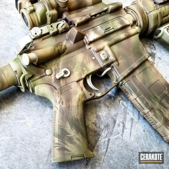 Cerakoted: Freehand Camo,MAGPUL® FLAT DARK EARTH H-267,MagPul,Tactical Rifle,Stencil,Custom Camo,Coyote Tan H-235,Hunting Rifle,Rex Silentium,DESERT VERDE H-256,Colt,Camo,Trijicon,AR-15,Ladies