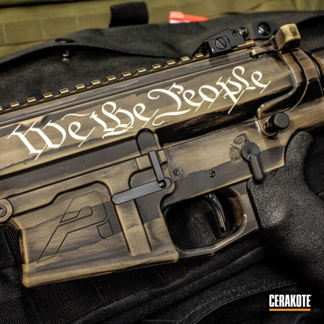 Cerakoted: Tactical Rifle,American Flag,Cobalt H-112,Gold H-122,AR 10,Aero Precision,Battleworn,Engraving,Graphite Black H-146,Desert Sand H-199,AR-10,Rustic,Distressed American Flag,We the people,Wartorn
