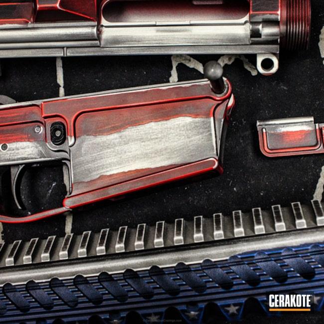 Cerakoted: NRA Blue H-171,Battleworn,Distressed,Distressed American Flag,USMC Red H-167,Tactical Rifle,American Flag,Satin Aluminum H-151,Wartorn,AR-15