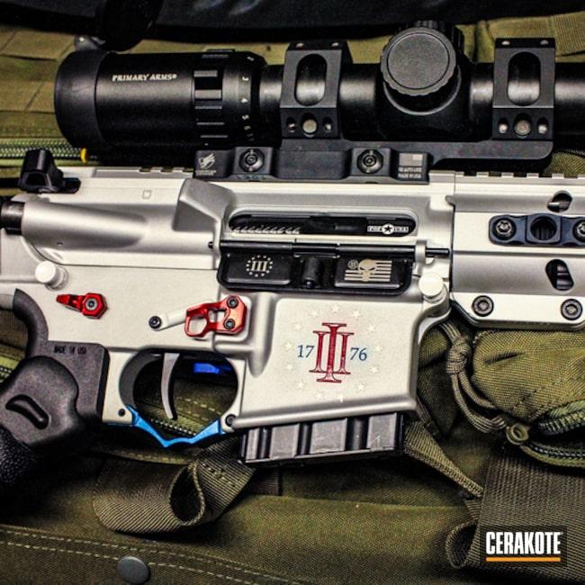 Cerakoted: Bright White H-140,Color Fill,Red, White and Blue,Mad Black Plus,USMC Red H-167,Satin Aluminum H-151,Mad Black Elite,AR-15