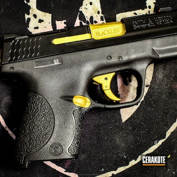 Cerakoted M&p Shield Done In Gold And Mad Black Elite