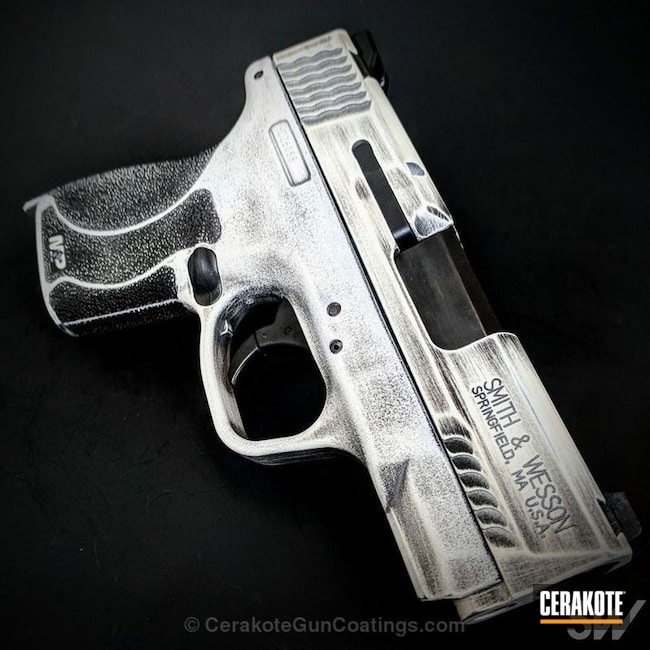 Cerakoted: Battleworn,Snow White H-136,Battleworn Flag,Graphite Black H-146,Smith & Wesson,Pistol,M&P Shield