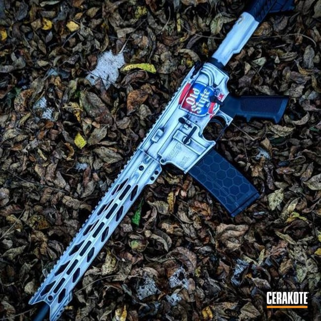 Cerakoted: NRA Blue H-171,Battleworn,Snow White H-136,DPMS Panther Arms,Graphite Black H-146,Old Style,Tactical Rifle,Theme,Gold H-122