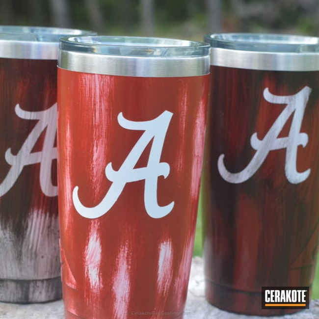 Cerakoted: College Theme,University of Alabama,Graphite Black H-146,Stormtrooper White H-297,Crimson H-221,More Than Guns,Roll Tide,Custom Tumbler Cup