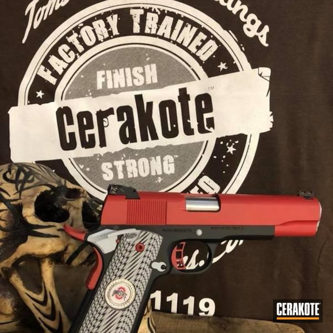 Cerakoted: Ohio st buckeyes,Ohio st gun,Graphite Black H-146,Rock Island Armory,USMC Red H-167,Pistol,BATTLESHIP GREY H-213,1911