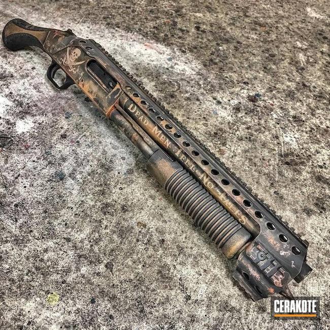 Cerakoted: Pirate Theme,MAGPUL® FLAT DARK EARTH H-267,Shotgun,Distressed,Armor Black H-190,Satin Aluminum H-151,Hunter Orange H-128