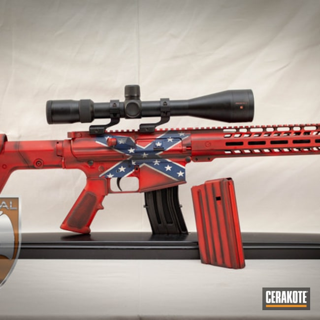 Cerakoted: Southern,NRA Blue H-171,Snow White H-136,Graphite Black H-146,AR-10,USMC Red H-167,Rebel Flag,Tactical Rifle,Theme,144 Tactical PS15