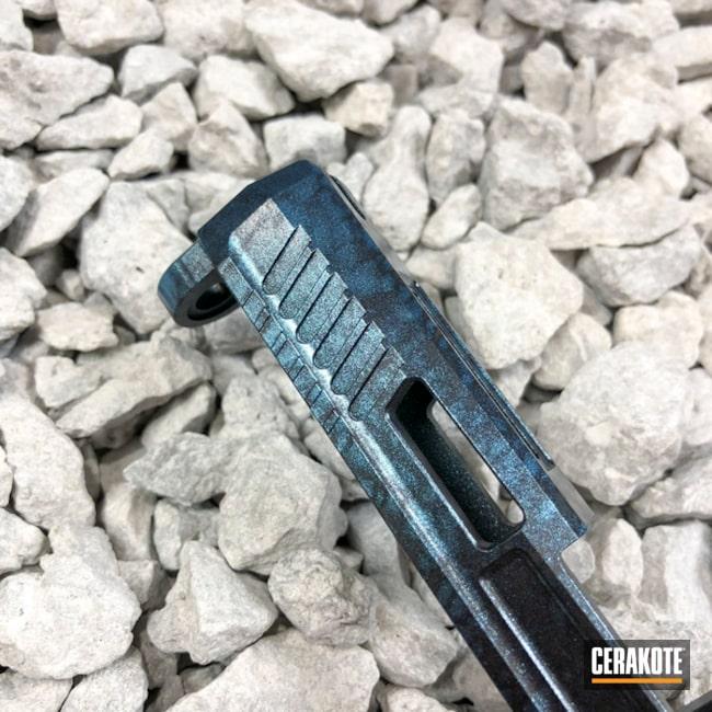 Cerakoted: Custom Mix,Two-Color Fade,Armor Black H-190,GunCandy Blue Steel,Ombre,Slide,Handguns,GunCandy Poseidon,Custom Cerakote,GunCandy