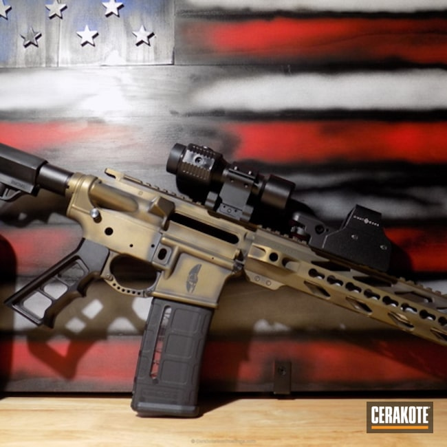 AR-15 coated in a Distressed Burnt Bronze and Graphite Black Finish