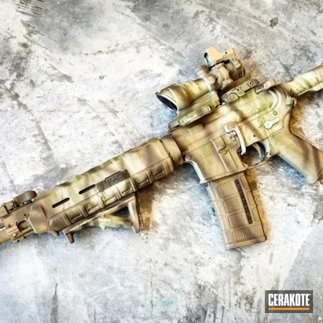 Cerakoted: Desert Sage H-247,Truck Gun,Tactical Rifle,Stencil,Custom Camo,Three Color Fade,Coyote Tan H-235,Patriot Brown H-226,Camo,Trijicon,AR-15,Ladies,CMMG Inc