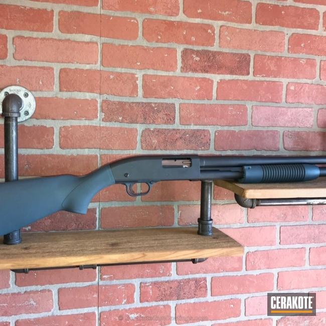 Cerakoted: Sniper Grey H-234,Shotgun,Mossberg,Jesse James Civil Defense Blue H-401,Mossberg 500