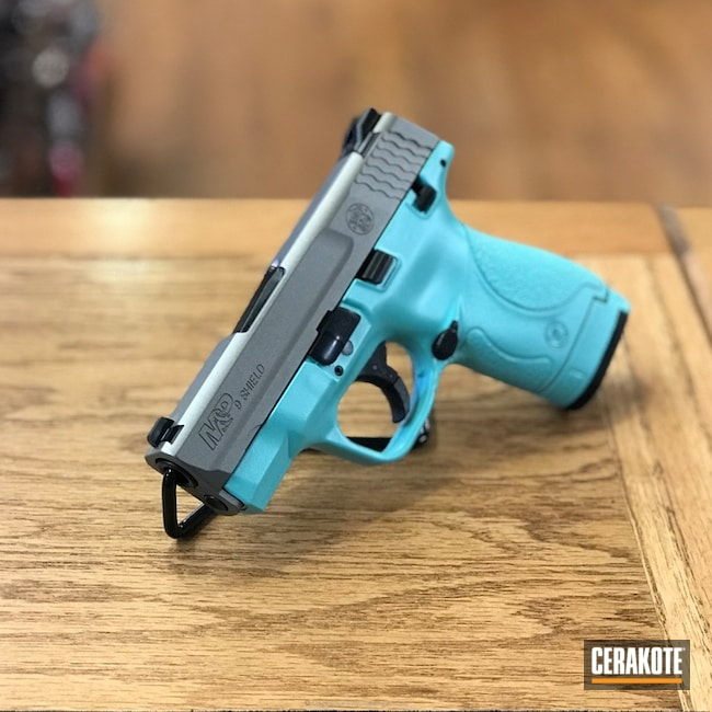 Cerakoted: Satin Mag H-147,Robin's Egg Blue H-175,Two Tone,Smith & Wesson,Smith & Wesson M&P,Pistol,A Twist on Tiffany