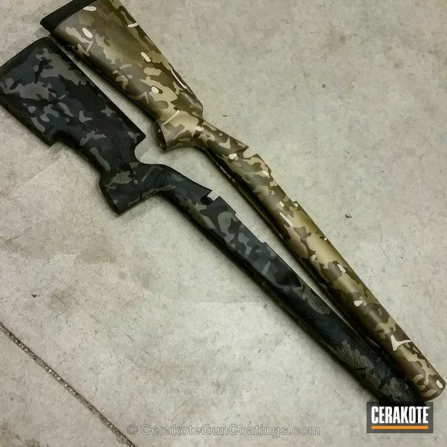 Cerakoted: Rifle Stock,HAZEL GREEN H-204,MultiCam,Graphite Black H-146,GLOCK® FDE H-261