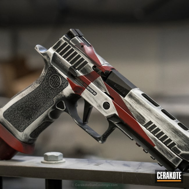 Cerakoted: FIREHOUSE RED H-216,Snow White H-136,Pistol,Sig Sauer,Crusader