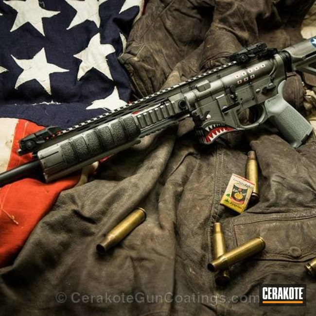 Cerakoted: Spike's Tactical,Hellbreaker,Graphite Black H-146,Tactical Rifle,Spikes,Combat Grey H-130