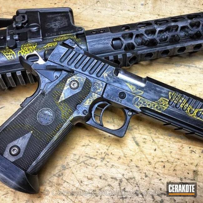 Cerakoted: Rifle,Corvette Yellow H-144,Graphite Black H-146,STI,Pistol,Odinworks