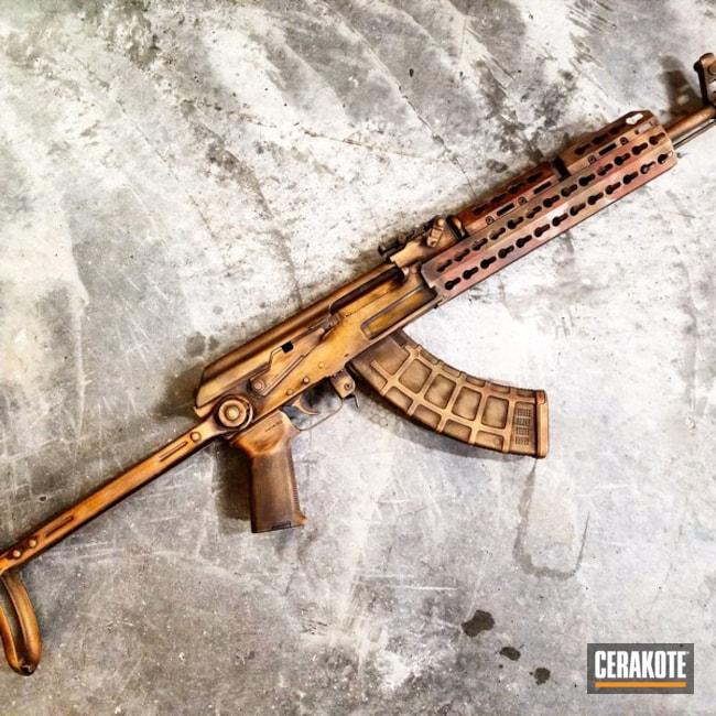 Cerakoted: Custom Mix,Distressed,Truck Gun,Tactical Rifle,AK-47,Midnight Bronze H-294,AK Rifle,Gold H-122,Three Color Fade,Custom,Battleworn,Graphite Black H-146,Federal Brown H-212,Burnt Bronze H-148,Hunter Orange H-128
