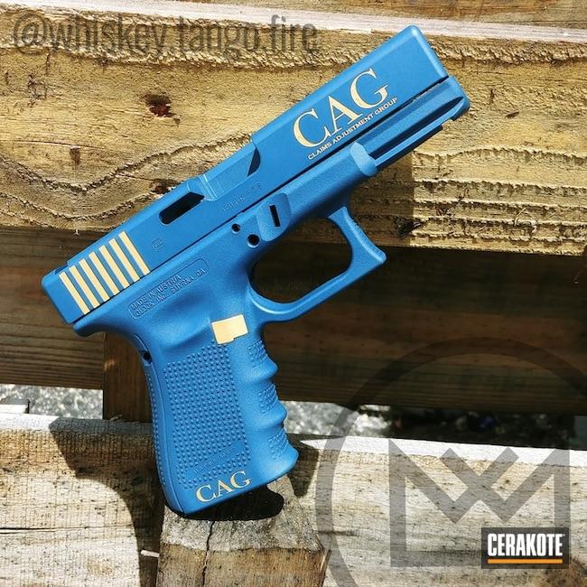 Cerakoted: NRA Blue H-171,Ridgeway Blue H-220,Pistol,Glock,Laser Engrave,Gold H-122
