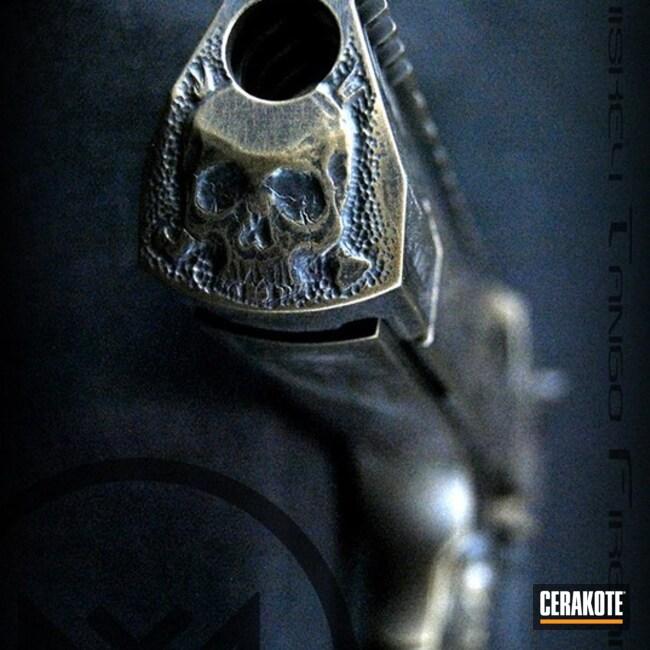 Cerakoted: Hand Engraved,Desert Eagle,Battleworn,Custom,Deagle,Engraved,Graphite Black H-146,Burnt Bronze H-148,Pistol