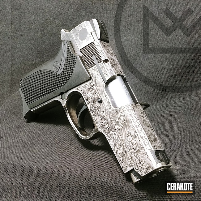 Engraved Smith & Wesson Handgun coated in H-170 and H-146