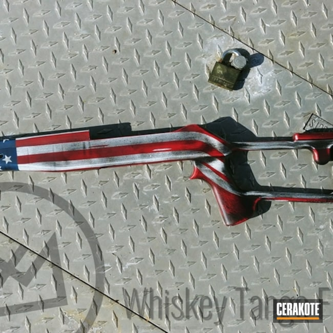 Cerakoted: Rifle Stock,FIREHOUSE RED H-216,Snow White H-136,Graphite Black H-146,Distressed,Distressed American Flag,American Flag,KEL-TEC® NAVY BLUE H-127