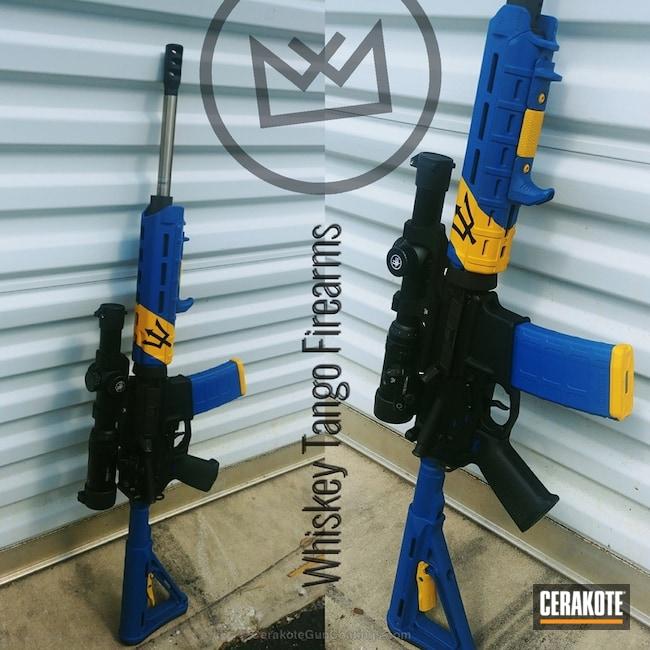 Cerakoted: NRA Blue H-171,Graphite Black H-146,Tactical Rifle,DEWALT YELLOW H-126