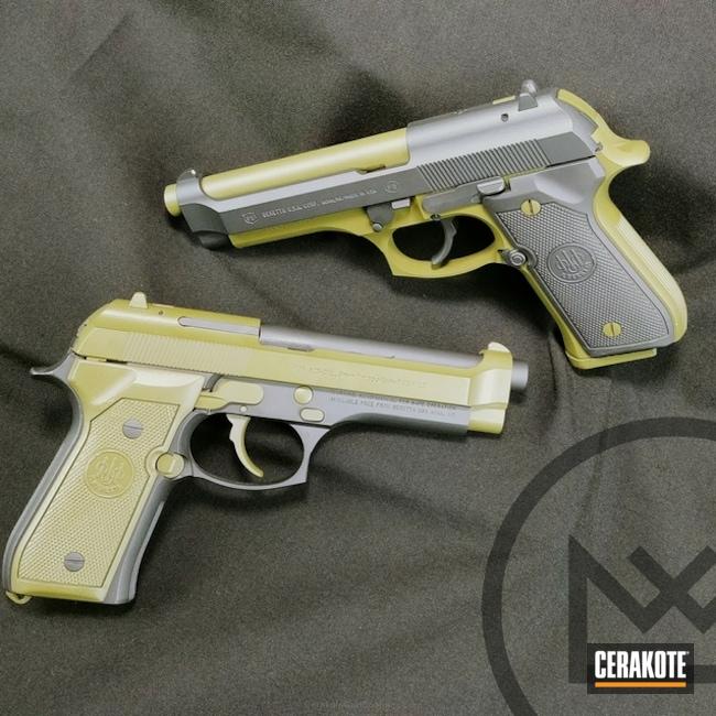 Cerakoted: Sniper Grey H-234,Two Tone,Pistol,Beretta,Noveske Bazooka Green H-189