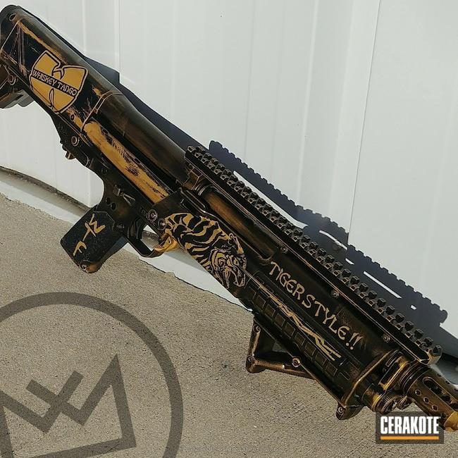 Cerakoted: Shotgun,Graphite Black H-146,Kel-Tec,Gold H-122