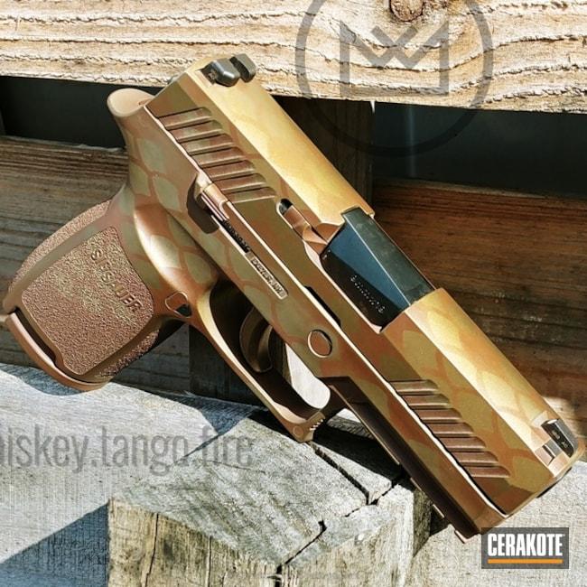 Cerakoted: Sig Sauer P320,BARRETT® BRONZE H-259,Distressed,Scale,Burnt Bronze H-148,Pistol,Sig Sauer