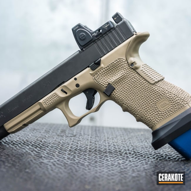 Cerakoted: MAGPUL® FLAT DARK EARTH H-267,Glock 34,Desert Sand H-199,Stippled,Pistol,Glock