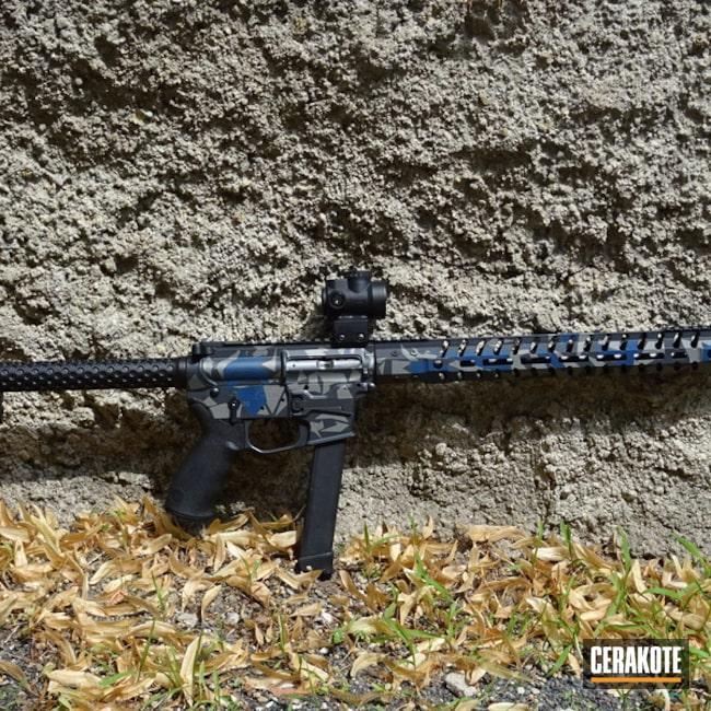 Cerakoted: AR Pistol,KEL-TEC® NAVY BLUE H-127,Splinter Camo,SIG™ DARK GREY H-210,Combat Grey H-130