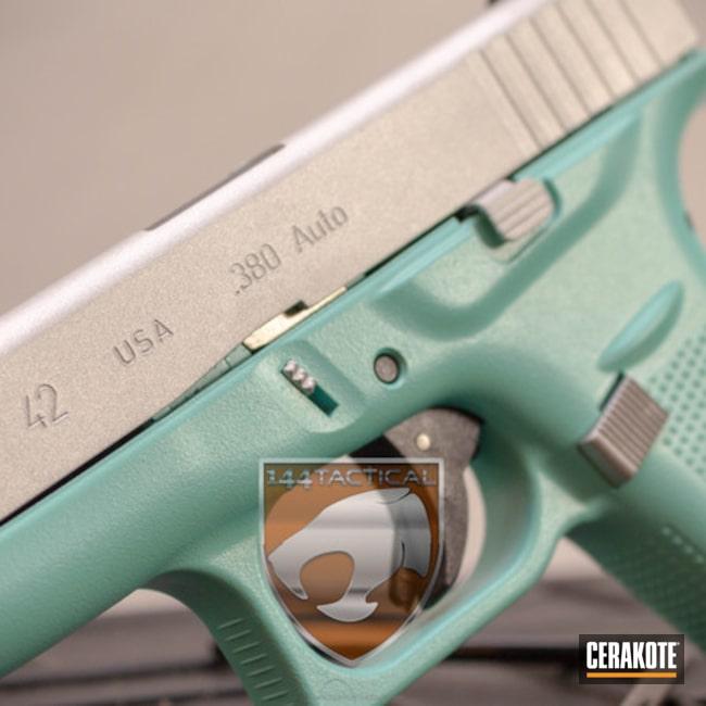 Cerakoted: For the Girls,Glock 42,Robin's Egg Blue H-175,Two Tone,Titanium H-170,Pistol,Glock