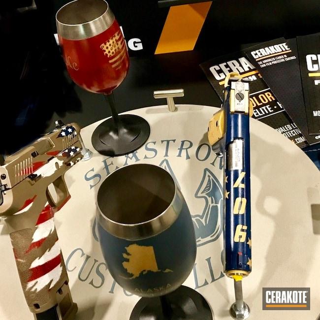 Cerakoted: Bright White H-140,Cerakote Display,Crimson H-221,KEL-TEC® NAVY BLUE H-127,Mug,Gold H-122,Wine Glasses,Blue Titanium H-185