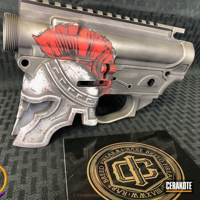 Cerakoted: Upper / Lower,Spike's Tactical,Graphite Black H-146,Spike's Tactical Spartan,Stainless H-152,Crimson H-221,Crushed Silver H-255,Spartan Helmet