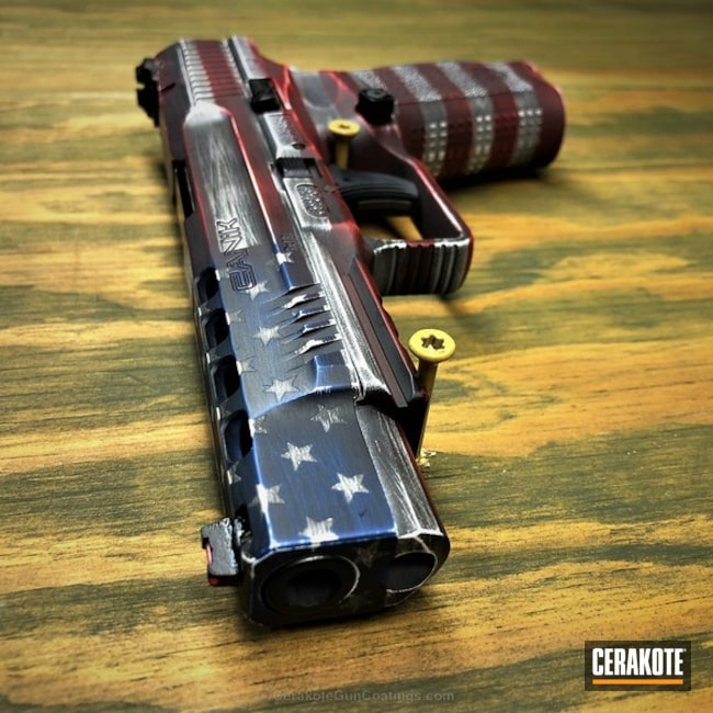 Cerakoted: Bright White H-140,Battleworn,Graphite Black H-146,Canik,Distressed American Flag,USMC Red H-167,Crimson H-221,Pistol,American Flag,KEL-TEC® NAVY BLUE H-127,Canik TP9SFX,Sky Blue H-169